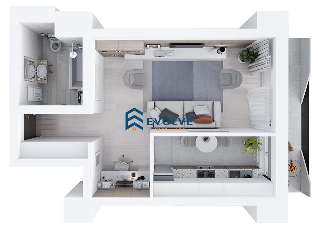 Apartament cu 1 camera, 41.27 mp, zona Tatarasi  Metalurgie
