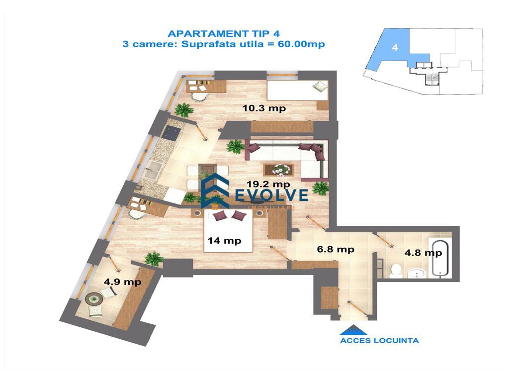 Apartament 3 camere, suprafata utila de 60 mp,mutare imediata