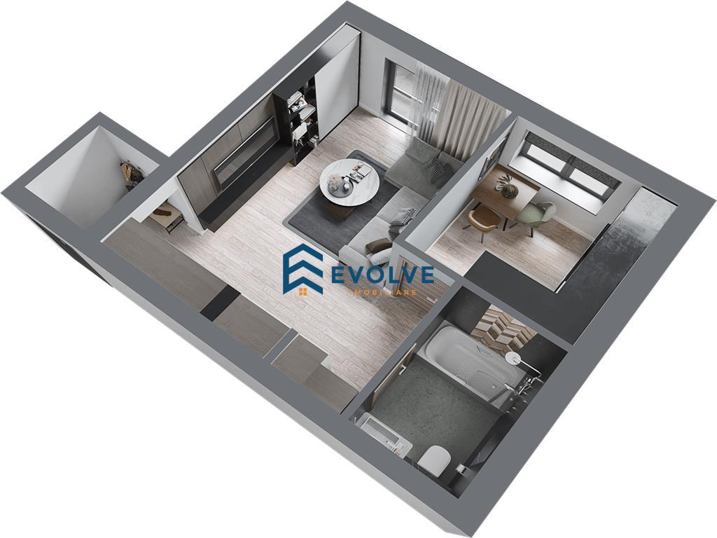 Apartamente noi cu 1 camera in ansamblu rezidential Tip 1C